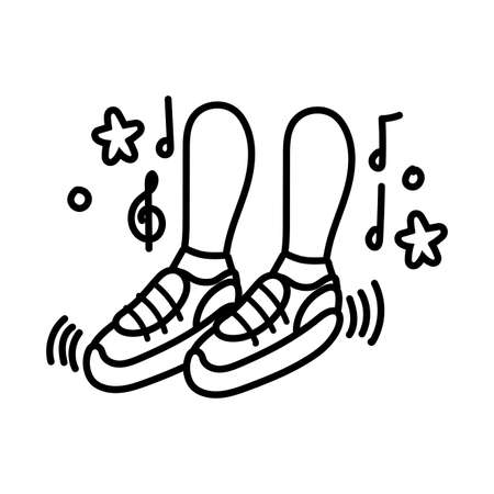 foots dancing with music notes line style vector illustration design