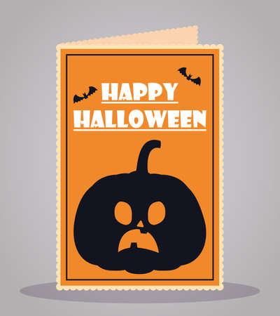 happy halloween party pumpkin greeting card vector illustration