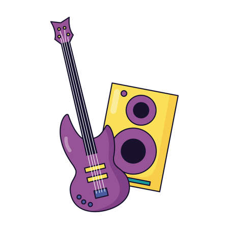 speaker and guitar music colorful background vector illustration