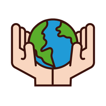 hands lifting world planet earth line and fill style vector illustration design