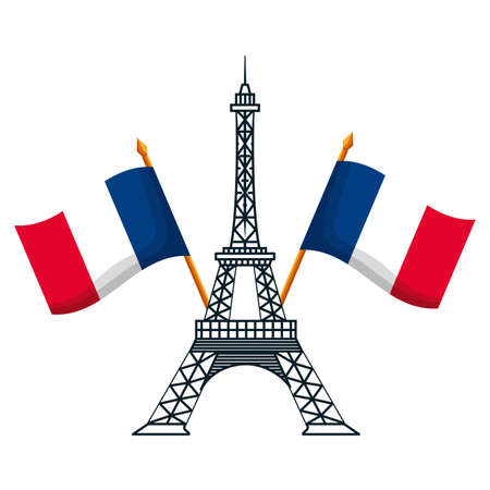 eiffel tower with flags of france happy bastille day flat design vector illustration 向量圖像