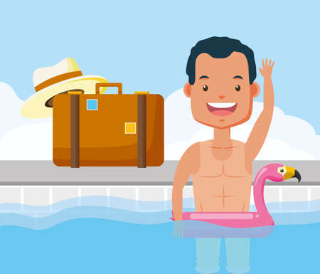 man bathing in pool with float flamingo suitcase hat vacations summer time vector illustration Vector Illustratie