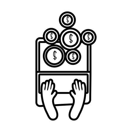 laptop online with coins line style vector illustration design Illusztráció