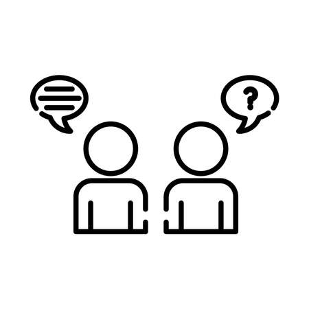 teamworkers figures with speech bubbles coworking line style icon vector illustration design