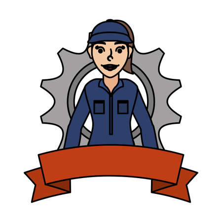 female young mechanic worker with gear and ribbon vector illustration design