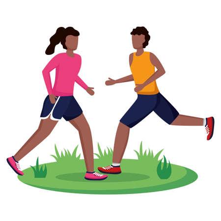 couple running activity sport outdoor vector illustration Ilustracje wektorowe