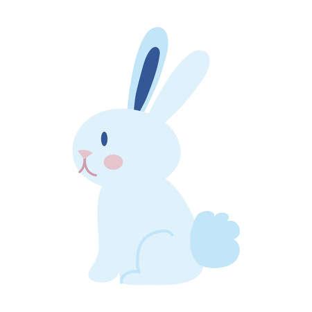 mid autumn cute rabbit seated flat style icon vector illustration design Illusztráció