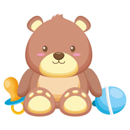 toy bear pacifier and rattle decoration baby shower card vector illustration