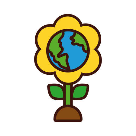 flower with world planet earth line and fill style vector illustration design Иллюстрация