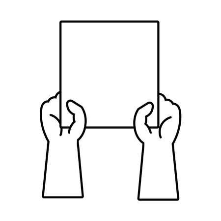 hands humans with protest square banner line style icon vector illustration design Illustration