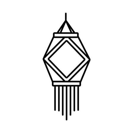 diwali paper lamp decoration line style icon vector illustration design