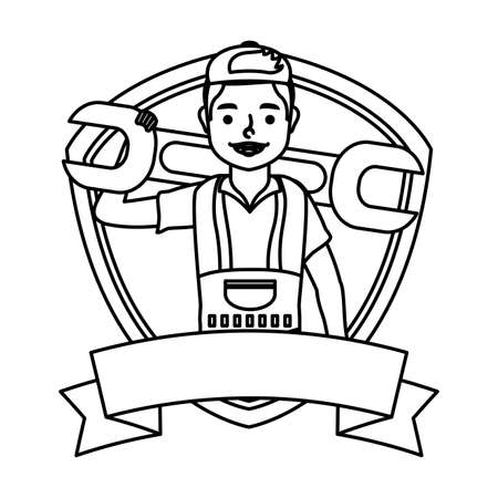 young mechanic worker lifting wrench in shield vector illustration design  イラスト・ベクター素材