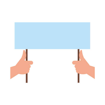 hands humans with protest banner flat style icon vector illustration design