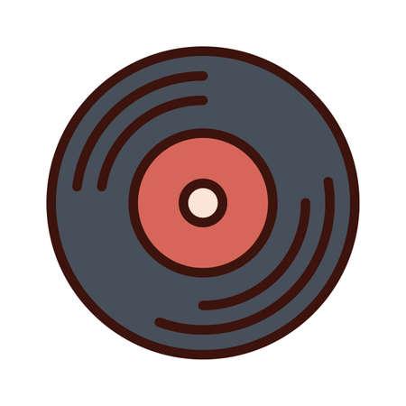 music vinyl disk record line and fill icon vector illustration Иллюстрация