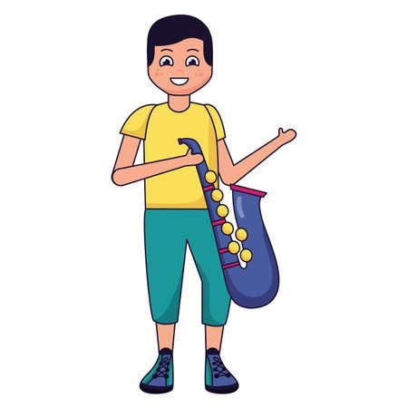 boy with saxophone listening music vector illustration