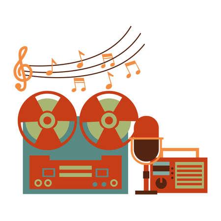 reel tape recorder radio microphone festival music vector illustration
