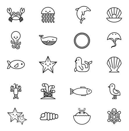 bundle of sea life animals icons vector illustration design