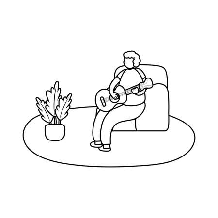 eldery man playing guitar in home activity line style vector illustration design