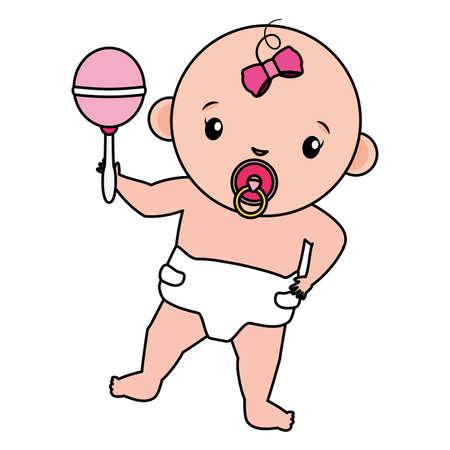 cute little baby girl with maracas vector illustration design