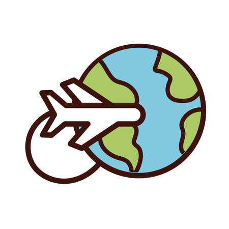 world planet earth with airplane flying line and fill style icon vector illustration