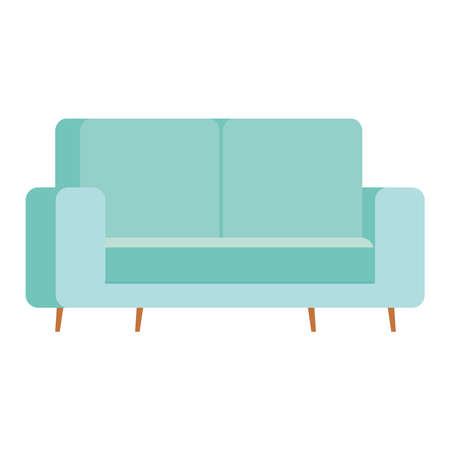 blue couch design, chair seat furniture interior home comfortable style and object theme Vector illustration
