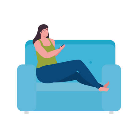 woman cartoon with smartphone on couch design, Cellphone mobile digital and phone theme Vector illustration