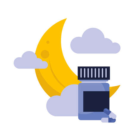 moon with clouds and insomnia pills jar design, sleep and night theme Vector illustration 版權商用圖片 - 156282376