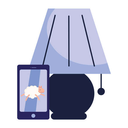 lamp with insomnia sheep in smartphone design, sleep and night theme Vector illustration 向量圖像