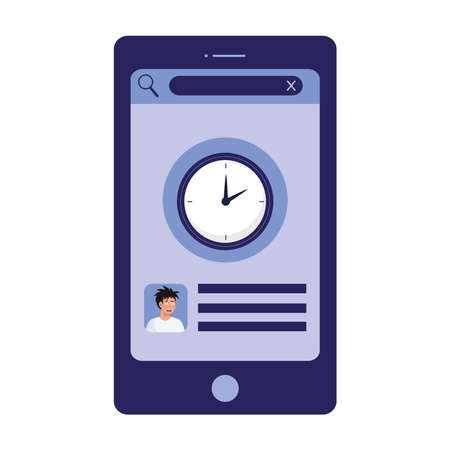 smartphone with man with insomnia and clock design, sleep and night theme Vector illustration
