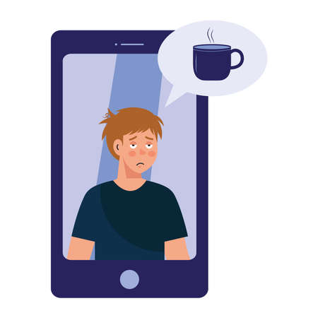 man cartoon with insomnia and coffee mug bubble in smartphone design, sleep and night theme Vector illustration