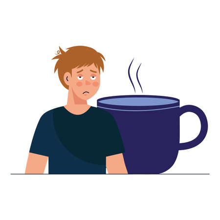man cartoon with insomnia and coffee mug design, sleep and night theme Vector illustration