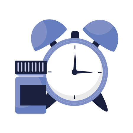 clock with insomnia pills jar design, sleep and night theme Vector illustration