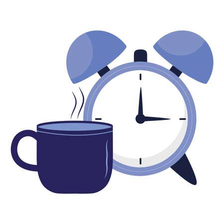 clock with insomnia coffee mug design, sleep and night theme Vector illustration 版權商用圖片 - 155938367