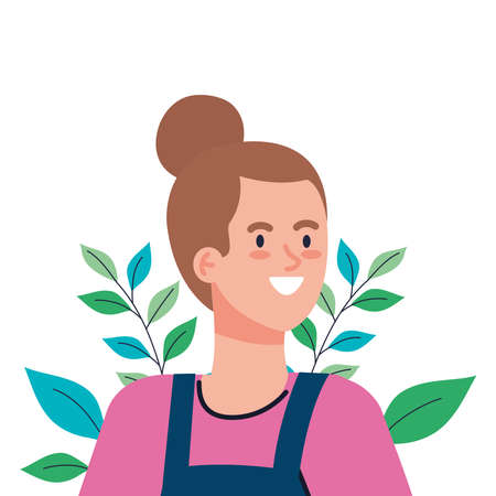 woman cartoon with leaves design, Girl female person people human and social media theme Vector illustration