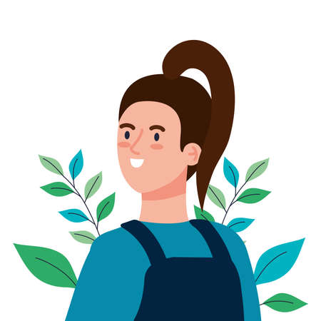 woman cartoon with leaves design, Girl female person people human and social media theme Vector illustration Vecteurs