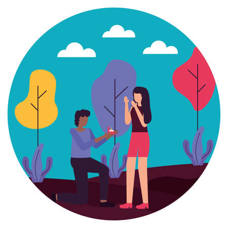 man proposing marriage to woman romantic love flat design vector illustration Ilustração