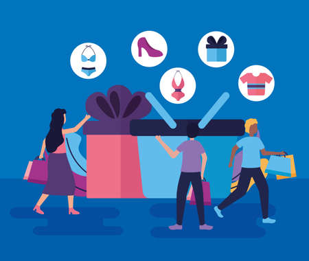 gift boxe basket girl and boys shopping vector illustration