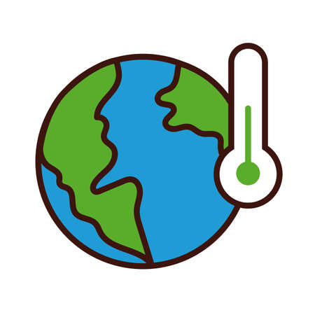 world planet earth with thermometer line and fill style vector illustration design