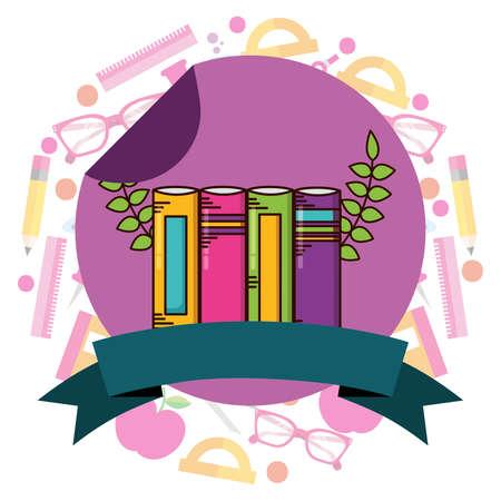 books school supplies teacher day sticker vector illustration