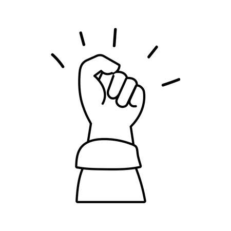 hand fist protest line style icon vector illustration design
