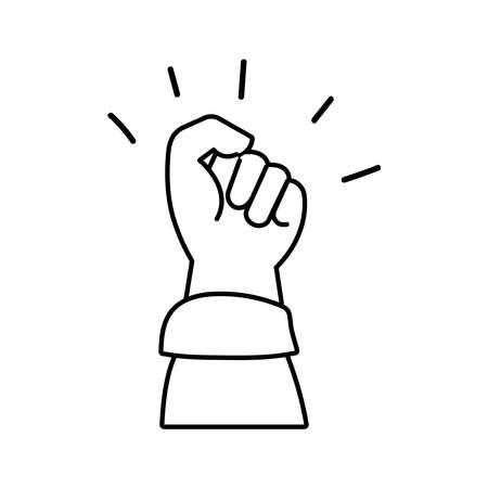 hand fist protest line style icon vector illustration design