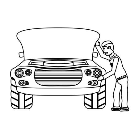 young mechanic working in car character vector illustration design  イラスト・ベクター素材