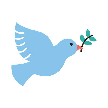 peace dove with olive branch flying line and fill style icon vector illustration design Vecteurs