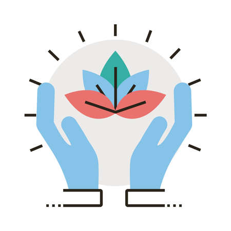 hands protecting leafs plant line and fill style icon vector illustration design