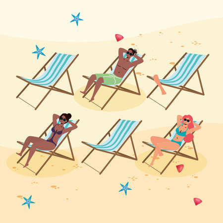 interracial people on the beach practicing social distance vector illustration design Illustration