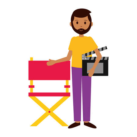 man director chair and clapboard film production vector illustration
