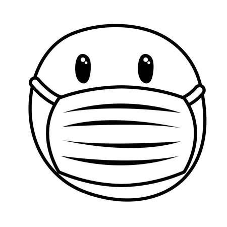 emoji frozen wearing medical mask line style vector illustration design