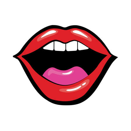 Pop art mouth with tongue and teeth fill style vector illustration design Vettoriali