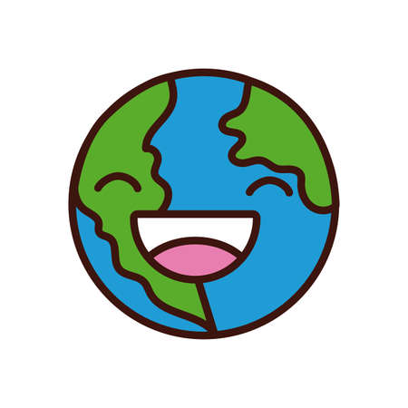 world planet earth smiling character line and fill style vector illustration design Иллюстрация