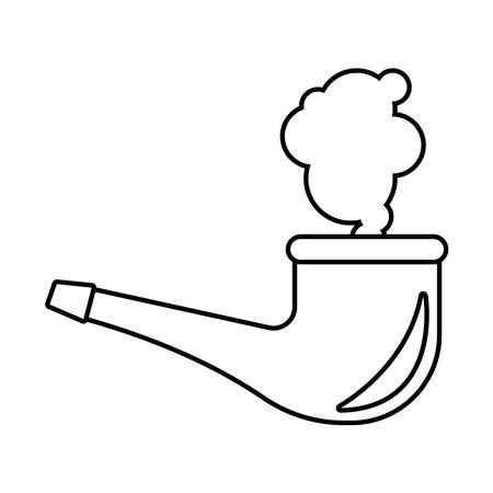 wooden smoke pipe line style icon vector illustration design